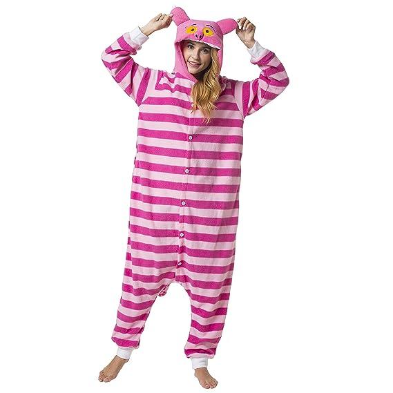 Katara 1744 - Kigurumi Pijamas Disfraz de Animal - Traje de Noche con Capucha - Adultos Unisexo - Gato de Cheshire M: Amazon.es: Juguetes y juegos