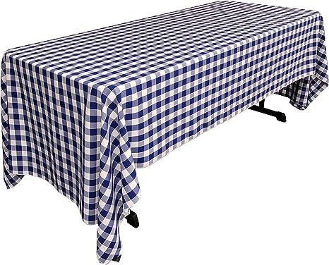 Amazon Com La Linen Rectangular Checkered Tablecloth Royal Blue And White 60 X 126 Home Kitchen