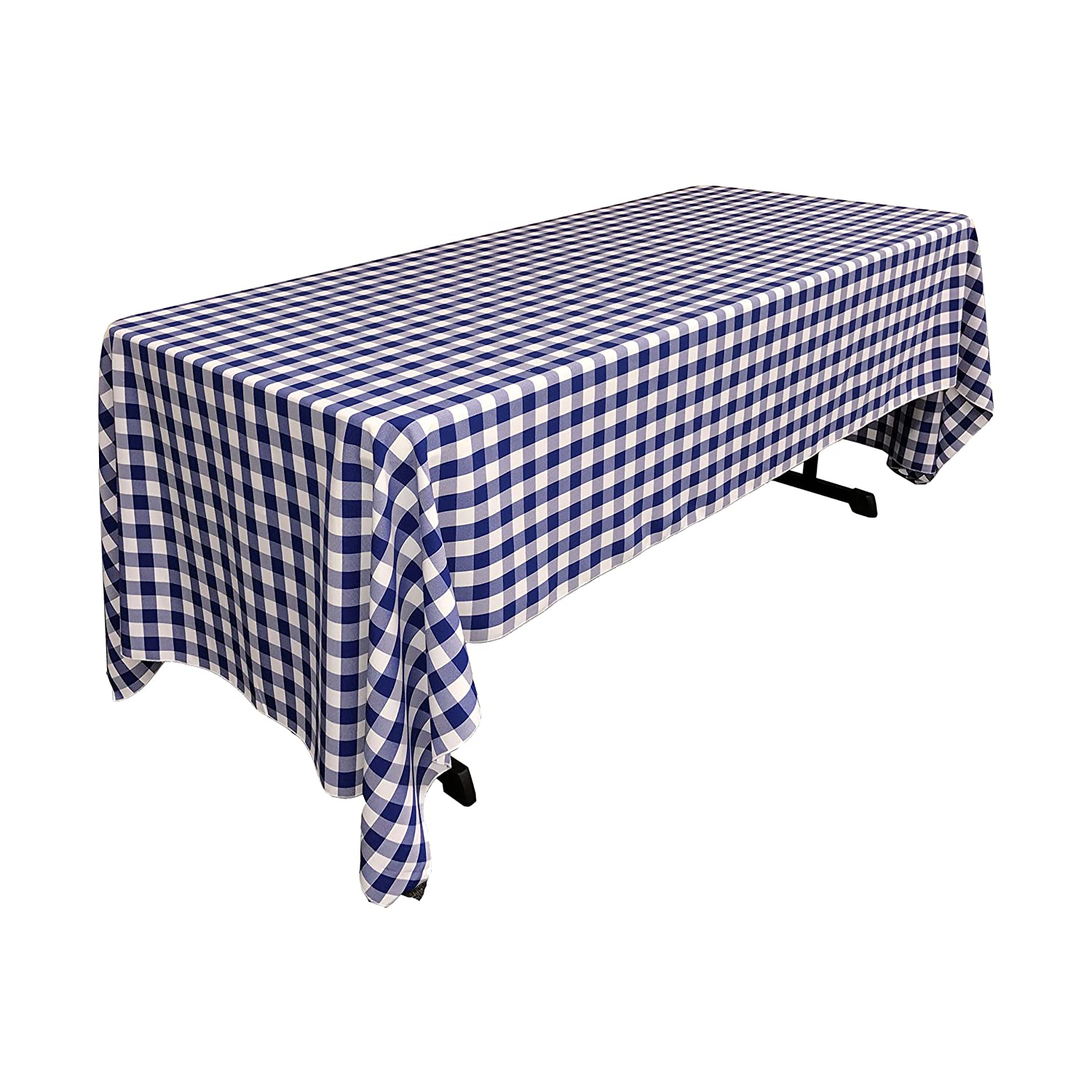 White//Lime 60 x 144 TCcheck60x144/_LimeWht 60 x 144 LA Linen Polyester Gingham Checkered Rectangular Tablecloth