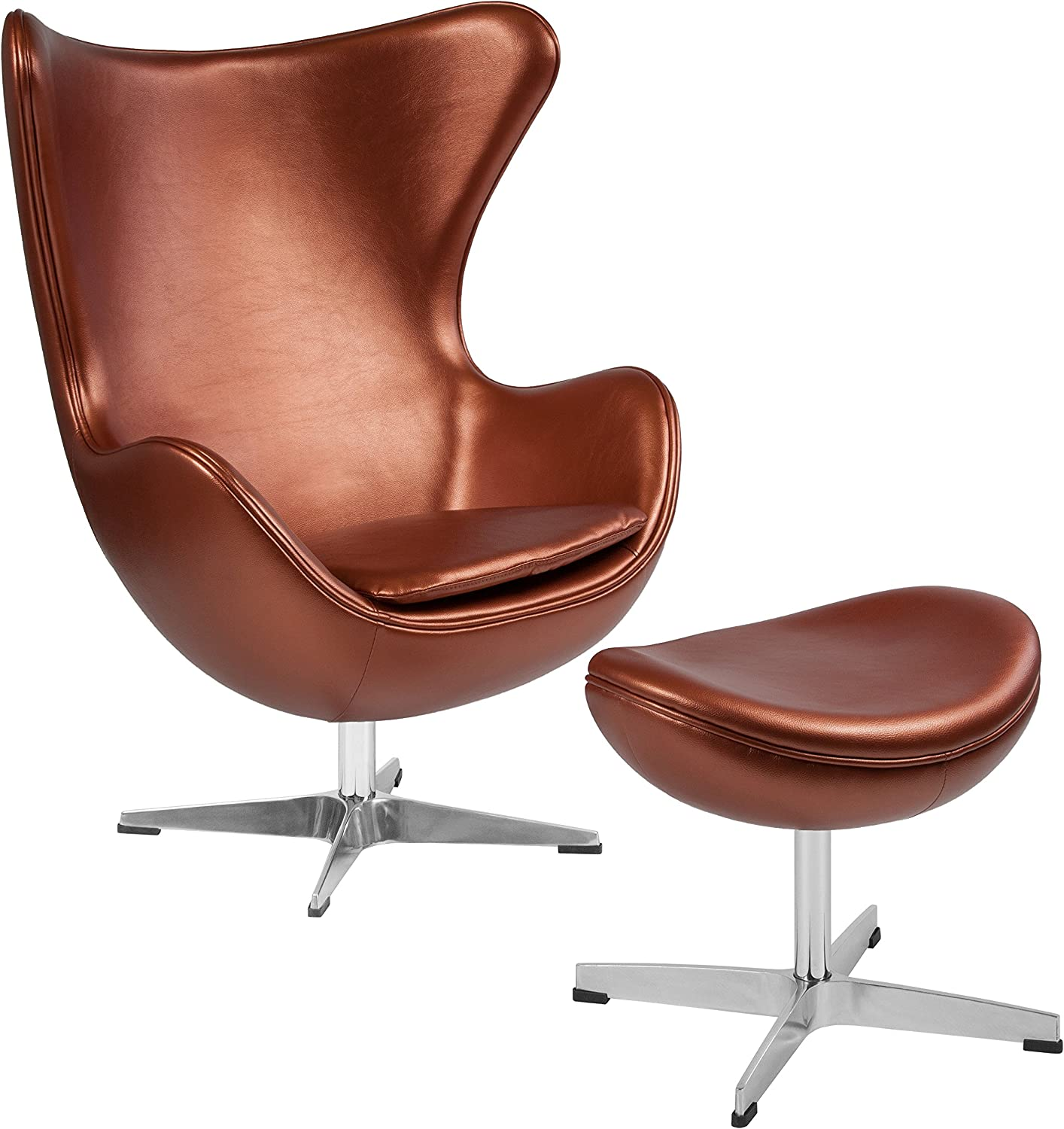 Flash Furniture Copper LeatherSoft Egg Chair with Tilt-Lock Mechanism and Ottoman