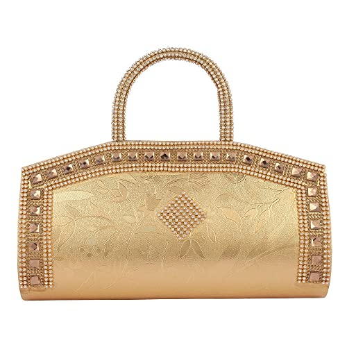 ac71009cad0 Aadhunik Libaas Trendy Party Wear, Fashion Fancy Stylish Women's Hand Bag,  Clutch (Golden