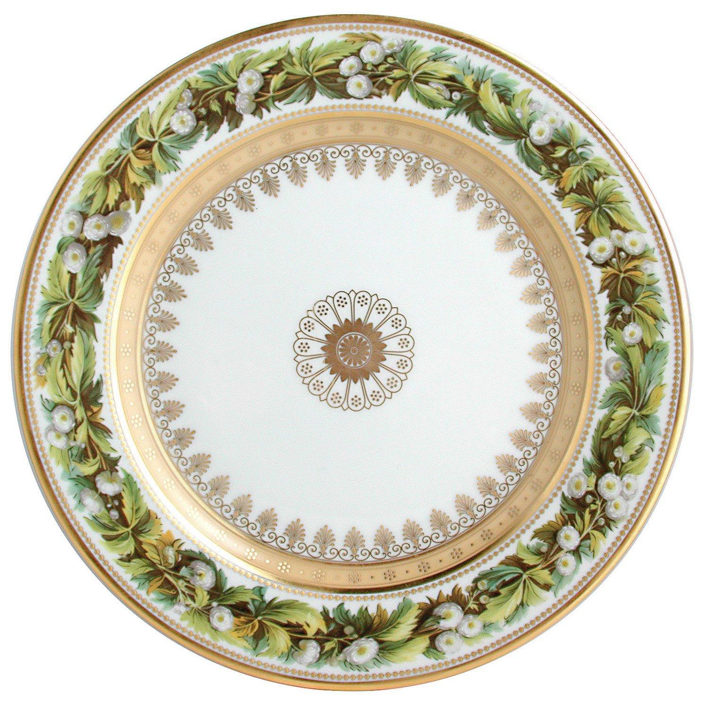 Ancienne Manufacture Royale Botanique Renoncule a Feuilles L'Aconit Salad Plate