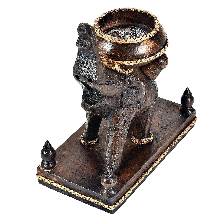 Adorable Little Elephant Hand Carved Wooden Candle Holder AeraVida HW-0185-0