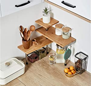 HYNAWIN 3 Tier Corner Shelf Bamboo & Metal Storage Spice Rack-Desk Bookshelf Display Shelves Space Saving Organizer -Adjustable Rack for Kitchen,Bed Room, Office-Best Home Decor