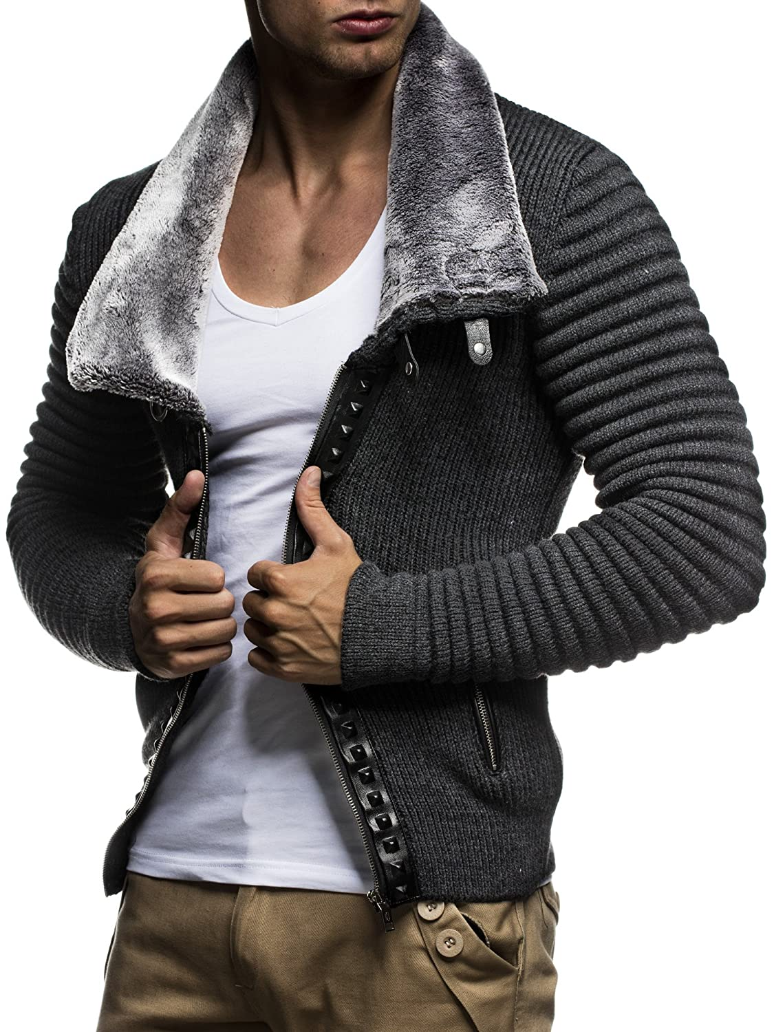 Leif nelon LN5165 Men's Cardigan With Stud Details and Zip Front ...