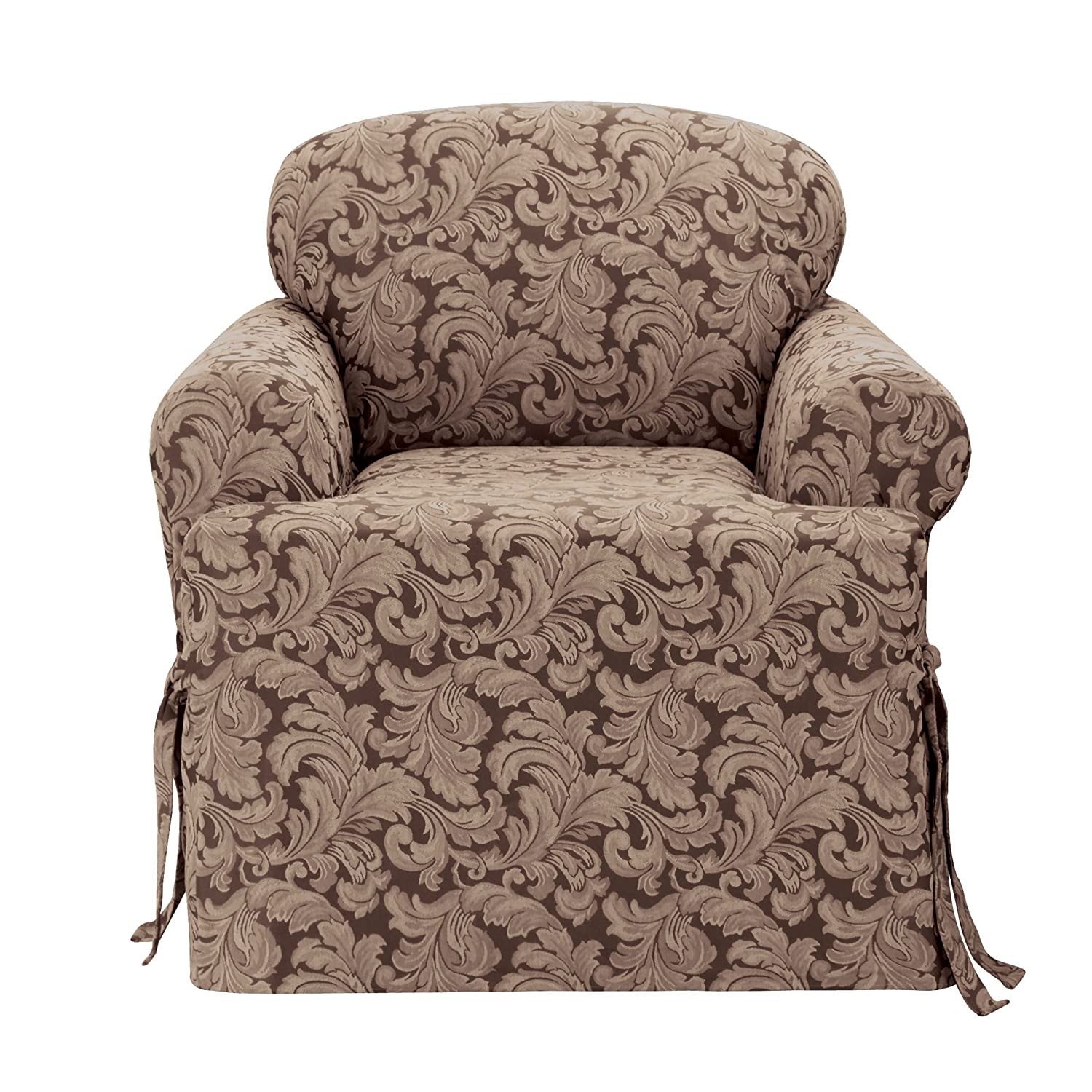 amazon com sure fit scroll t cushion chair slipcover brown