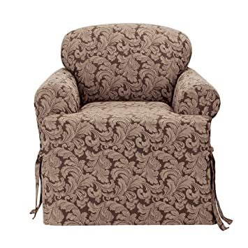 Sure Fit Scroll T Cushion   Chair Slipcover   Brown (SF36221)