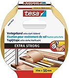 tesa doppelseitiges Verlegeband/Extra stark klebend - für alle Teppiche und PVC Beläge/Für Fußbodenheizung und feuchte Räume geeignet / 50mm x 10m