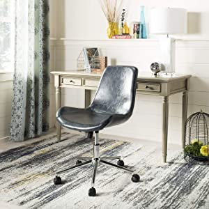 Safavieh Home Fletcher Dark Grey Faux Leather and Chrome Swivel Office Chair