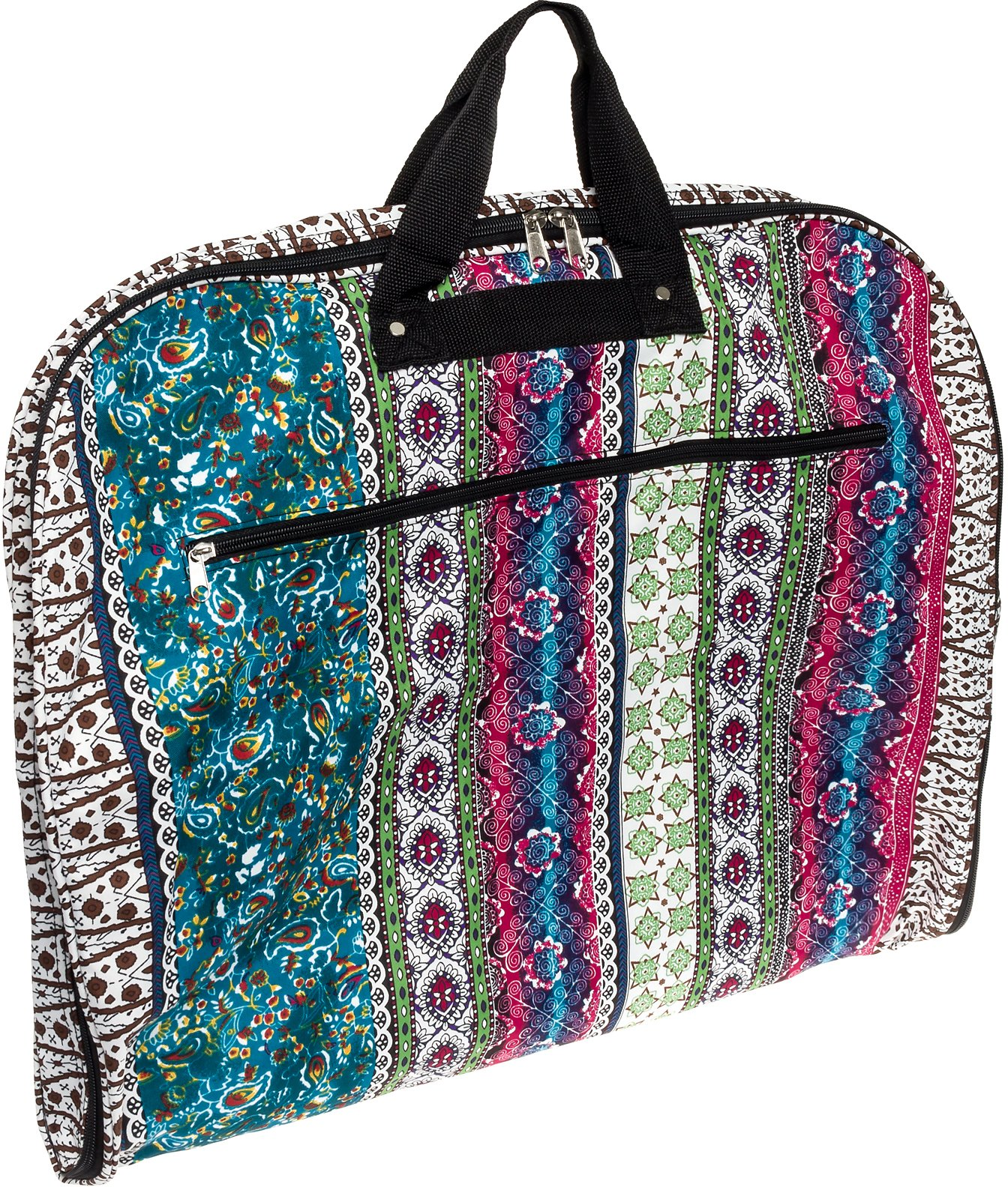 40'' Womens Hanging Garment Bag (Multicolor Boho/Black Trim)