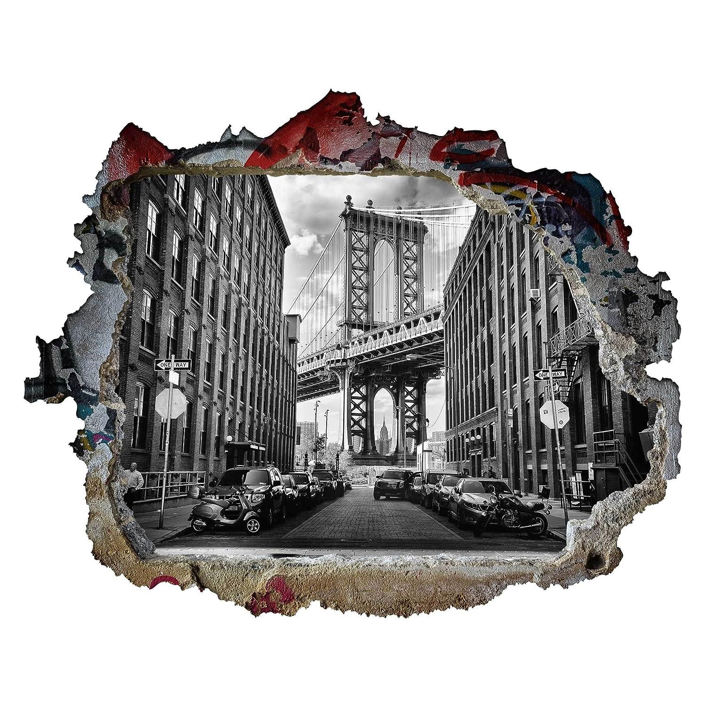 Bilderwelten 3D Wandtattoo - Manhattan Bridge in America - Quer 3  4, Größe  105cm x 140cm B07DNH42L2 Wandtattoos & Wandbilder