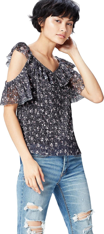 Marca Amazon - find. Blusa con Hombros al Aire de Encaje para Mujer