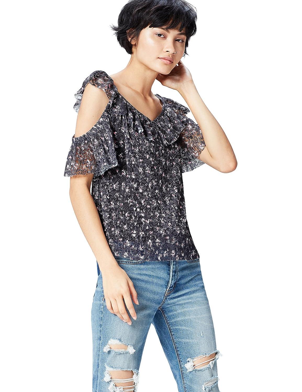 FIND Blusa con Hombros al Aire de Encaje para Mujer