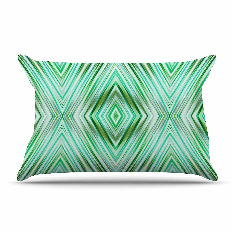 68 X 88 KESS InHouse Dawid Roc Green Mint Modern Ethnic  Green Geometric Twin Comforter