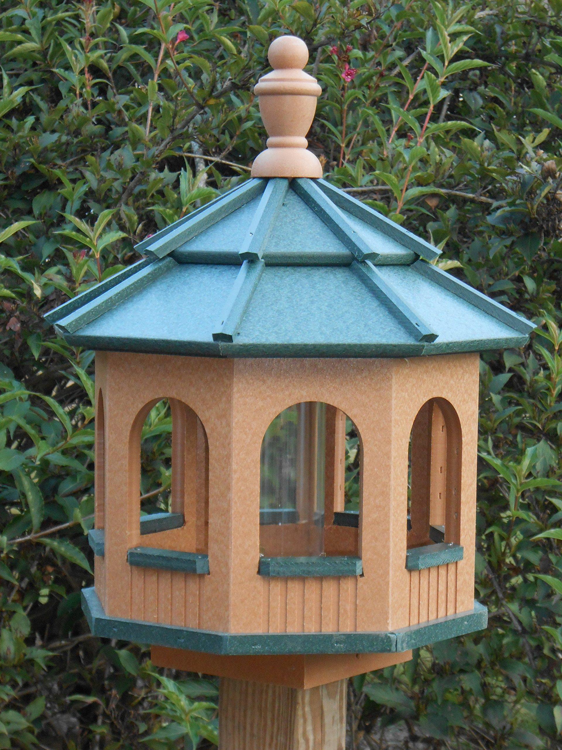 Vinyl Gazebo Bird Feeder Amish Homemade Handmade Handcrafted Cedar & Green med