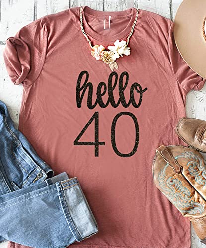 4f0e910f Amazon.com: 40th birthday shirt for women, ladies forty birthday t-shirt,  Cute birthday squad shirts, glitter party tees: Handmade