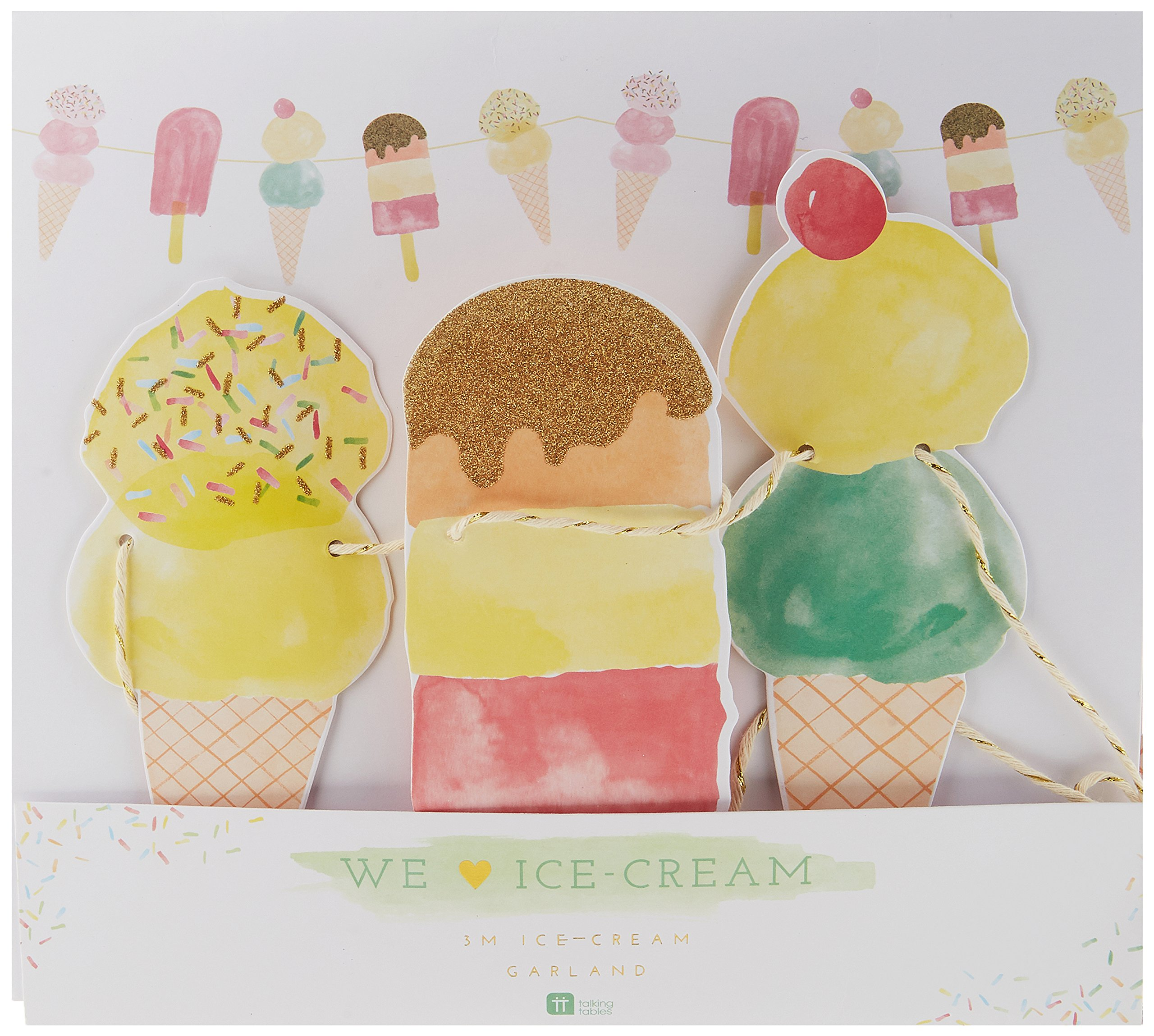 Talking Tables We Heart Ice Cream Hanging Décor Garland for a Summer Party or Children's Birthday (10 Ft), Multicolor