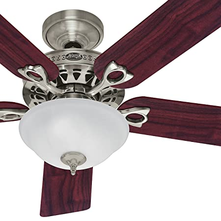 Hunter Fan 52in Traditional Ceiling Fan in Brushed Nickel with a Swirled Marble Light Kit, 5 Blade Renewed