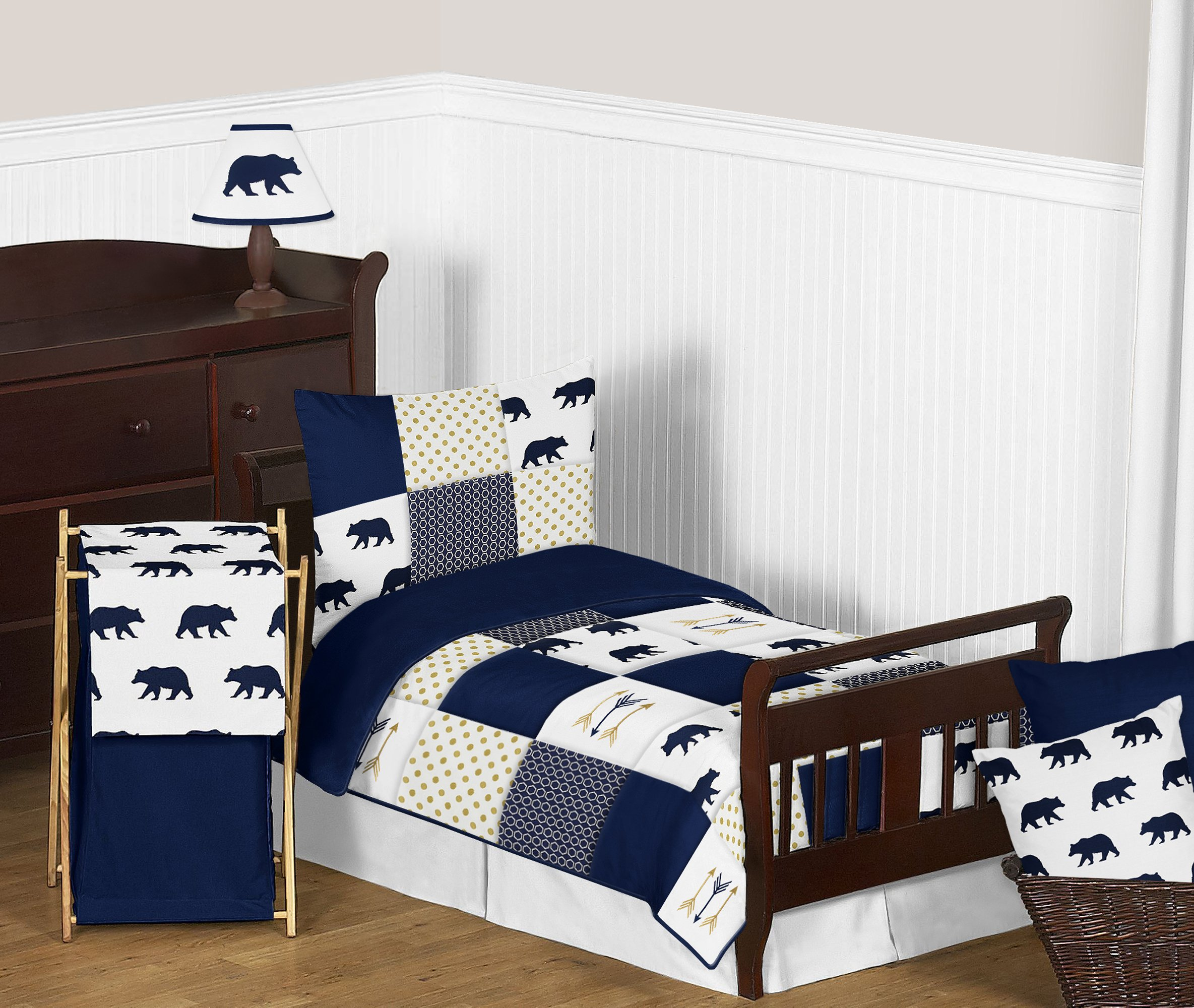 Sweet Jojo Designs 5-Piece Navy Blue, Gold, and White Big Bear Boy Toddler Kid Childrens Bedding Set s Comforter, Sham and Sheets