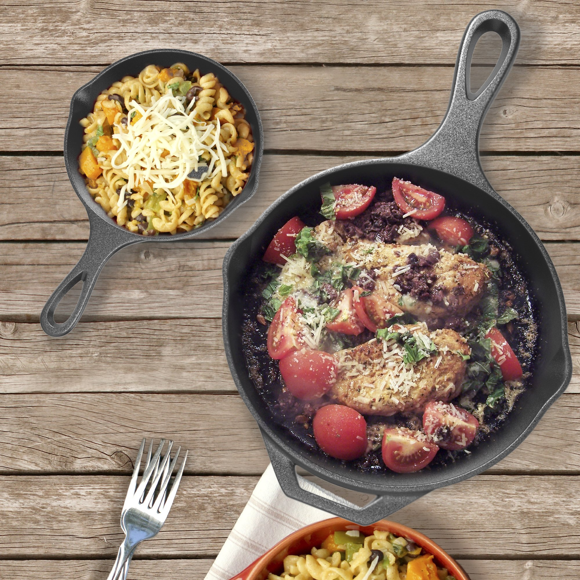 Pre-Seasoned Cast Iron Skillet 2 Piece Set (12.5 inch & 8 inch Pans) Best Heavy Duty Professional Restaurant Chef Quality Pre Seasoned Pan Cookware Set - Great For Frying, Saute, Cooking Pizza & More by Amsha Kitchen (Image #4)
