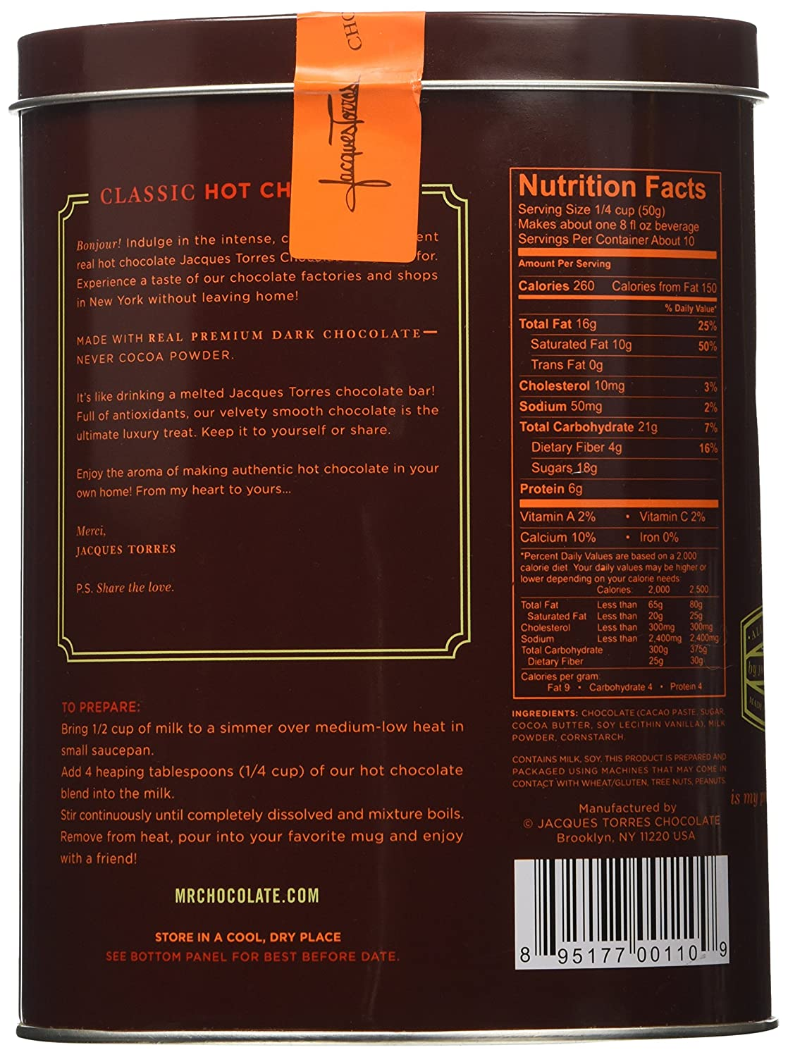 Amazon.com : Jacques Torres Chocolate - Hot Chocolate in a Tin Box ...