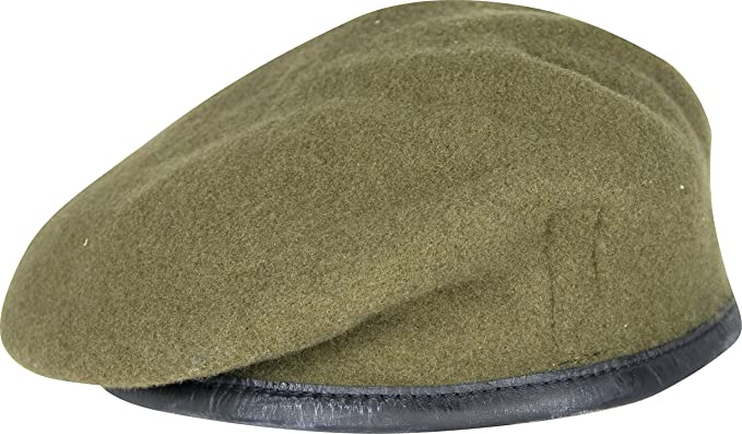 b35724e1 Military Army Berets - 100% Wool Silk Linked Leather Bow by Ammo & Co -