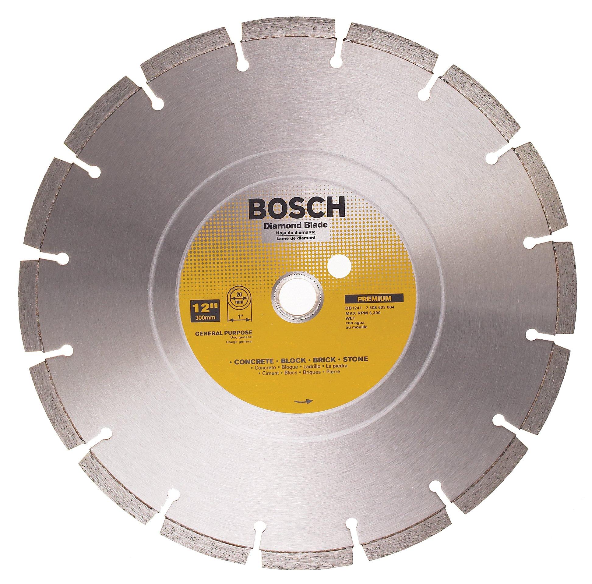 Disco De Diamante Bosch Db1241 Premium Plus Segmentado De Corte En Humedo De 12 Pulg. Con Eje De 1 Pulgada Para Mamposte