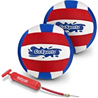 GoSports Pro Neoprene Pool Volleyball | 2 Pack Waterproof Volleyballs with Ball Pump, Red, White, Blue