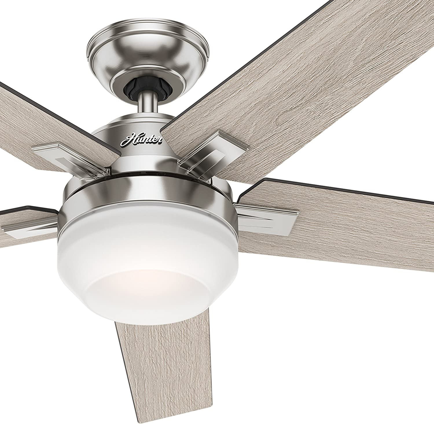 Hunter 54 Contemporary Indoor Ceiling Fan with Light Kit and Remote Control Renewed , Brushed Nickel Finish
