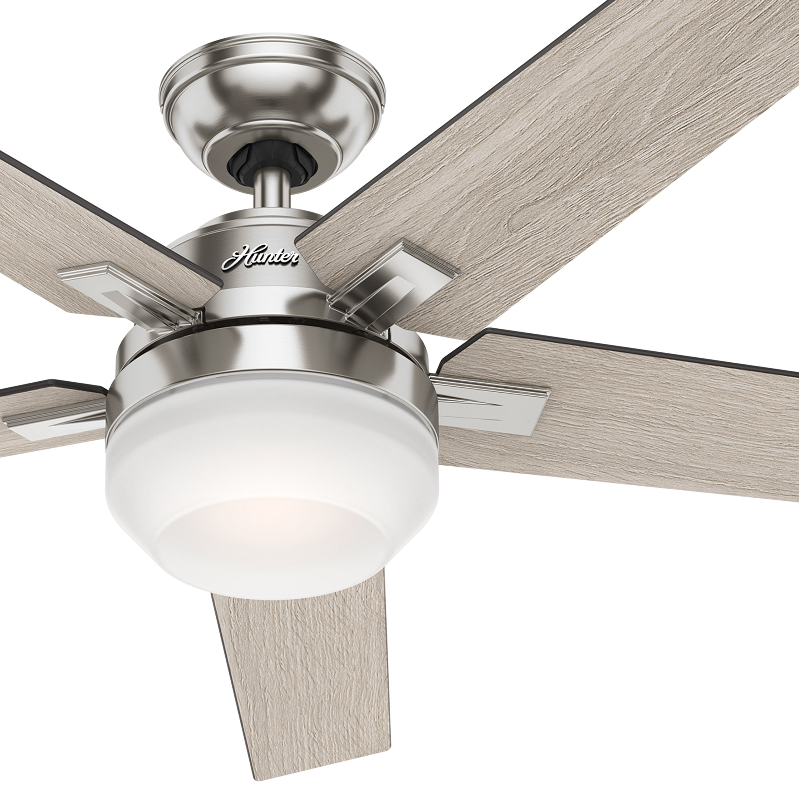 Hunter 54'' Brushed Nickel Contemporary Ceiling Fan with Cased White LED Light Kit and Remote Control (Certified Refurbished) by Hunter Fan Company