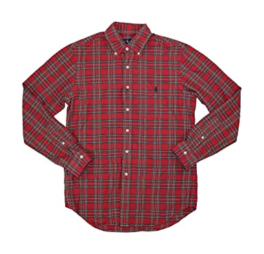 75716610 Image Unavailable. Image not available for. Color: Polo Ralph Lauren Iconic  Plaid Oxford Long Sleeve Button Down Shirt (Red/Hunter Green