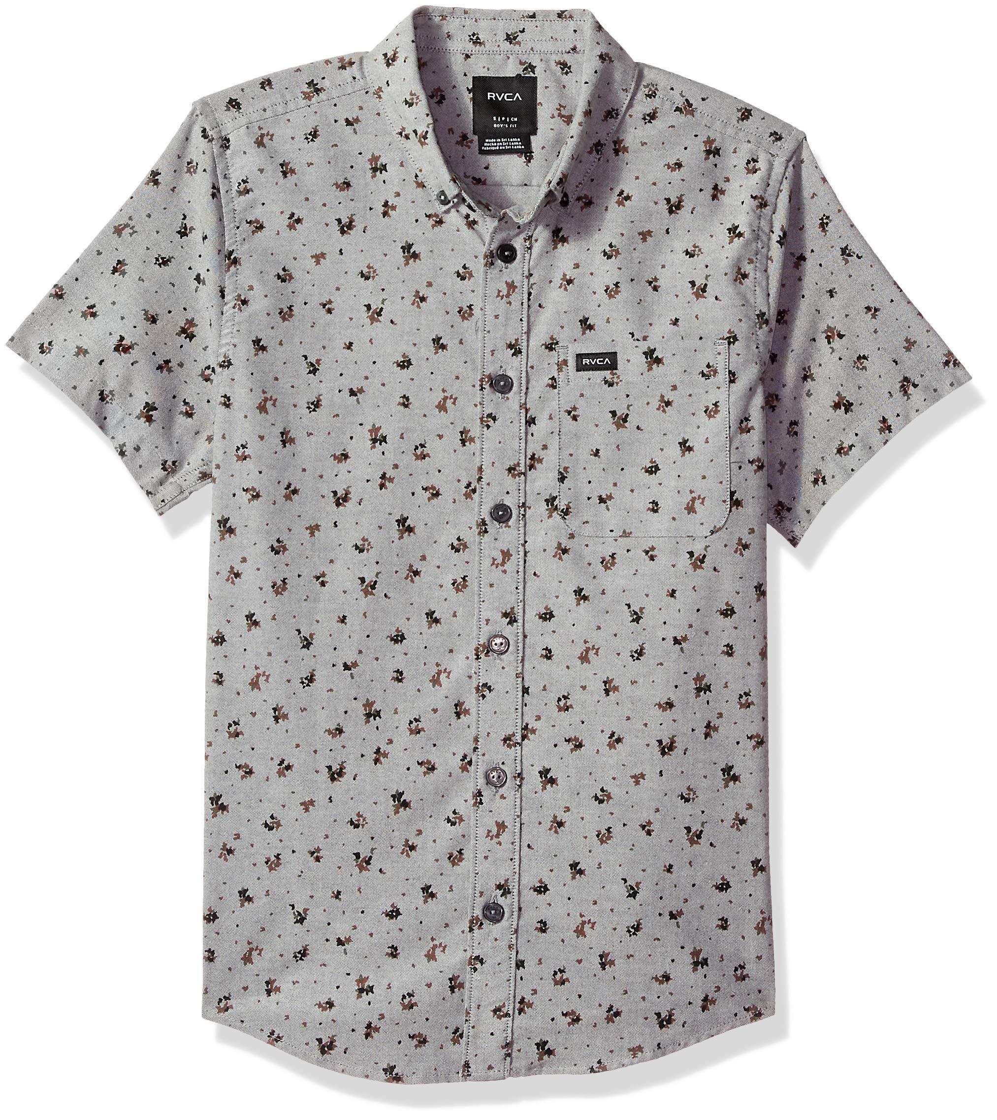 RVCA Boys Thatll DO Print Woven Short Sleeve Button UP Shirt, Pavement XL