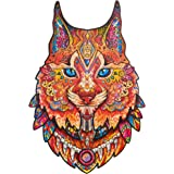 Unidragon Wooden Puzzle Jigsaw, Best Gift for Adults and Kids, Unique Shape Jigsaw Pieces Gentle Lynx, 10.6 х 16.1 inches, 29