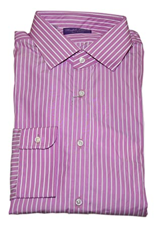 5a2c37a5ec2 Image Unavailable. Image not available for. Color  Ralph Lauren Polo Purple  Label Mens Button Dress Shirt Italy Striped Pink 17