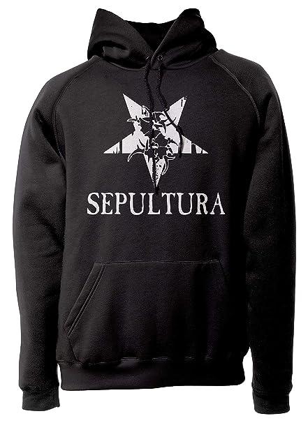 LaMAGLIERIA Sudadera Unisex Sepultura - White Print - Sudadera con Capucha Rock Metal Band: Amazon.es: Ropa y accesorios