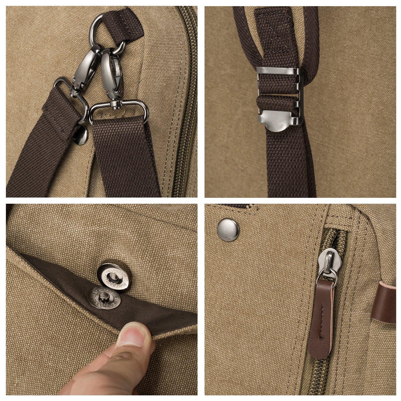 HIKA Vintage 3-Way Convertible Briefcase Laptop Backpack Messenger Bag Backpack-Vintage Khaki by HIKA (Image #6)