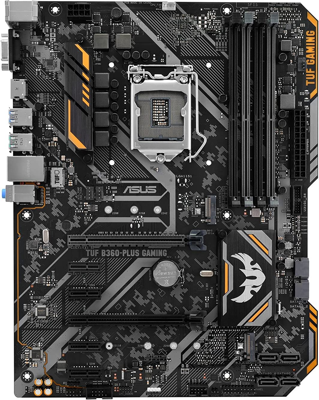 ASUS TUF B360-PLUS Gaming Scheda Madre Gaming Intel B360 con Illuminazione Aura Sync RGB, Supporto DDR4 2666 MHz, 16 Gbps M.2, Intel Optane Memory Ready e USB 3.1 Gen 2