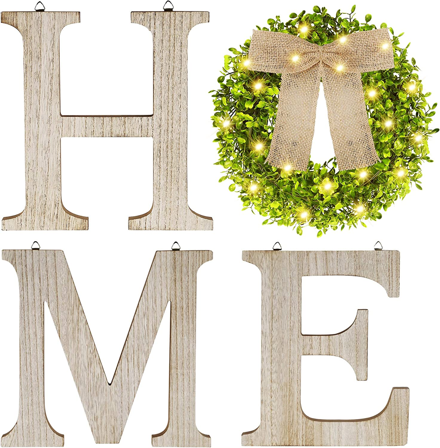 SAND MINE Wooden Home Signs, Farmhouse Home Decor Wall, Rustic Home Letters Decor with Lighted Artificial Eucalyptus Wreath, Wall Decorative Hanging Sign for Bedroom Living Room Enterway, Wood