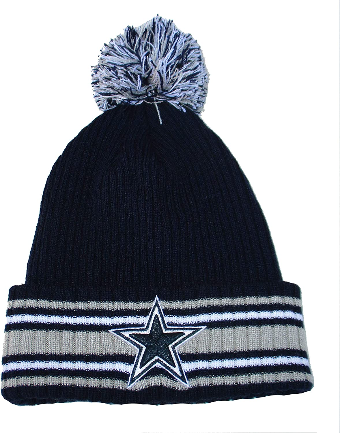 Dallas Cowboys Knit Star Logo Pom Beanie One Size Hat Cap Navy and Gray