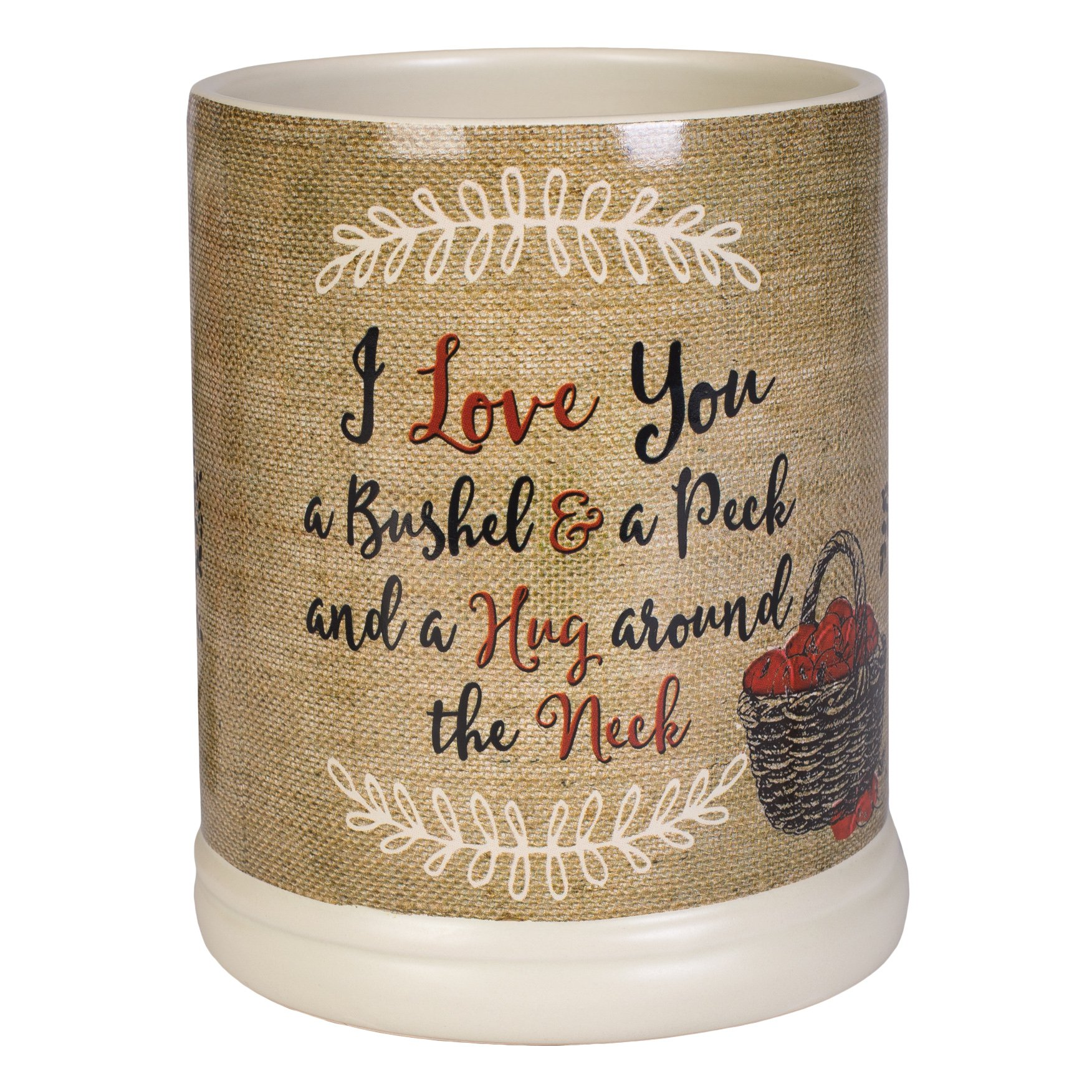 Elanze Designs I Love You A Bushel A Peck Burlap Apples Ceramic Stone Jar Warmer