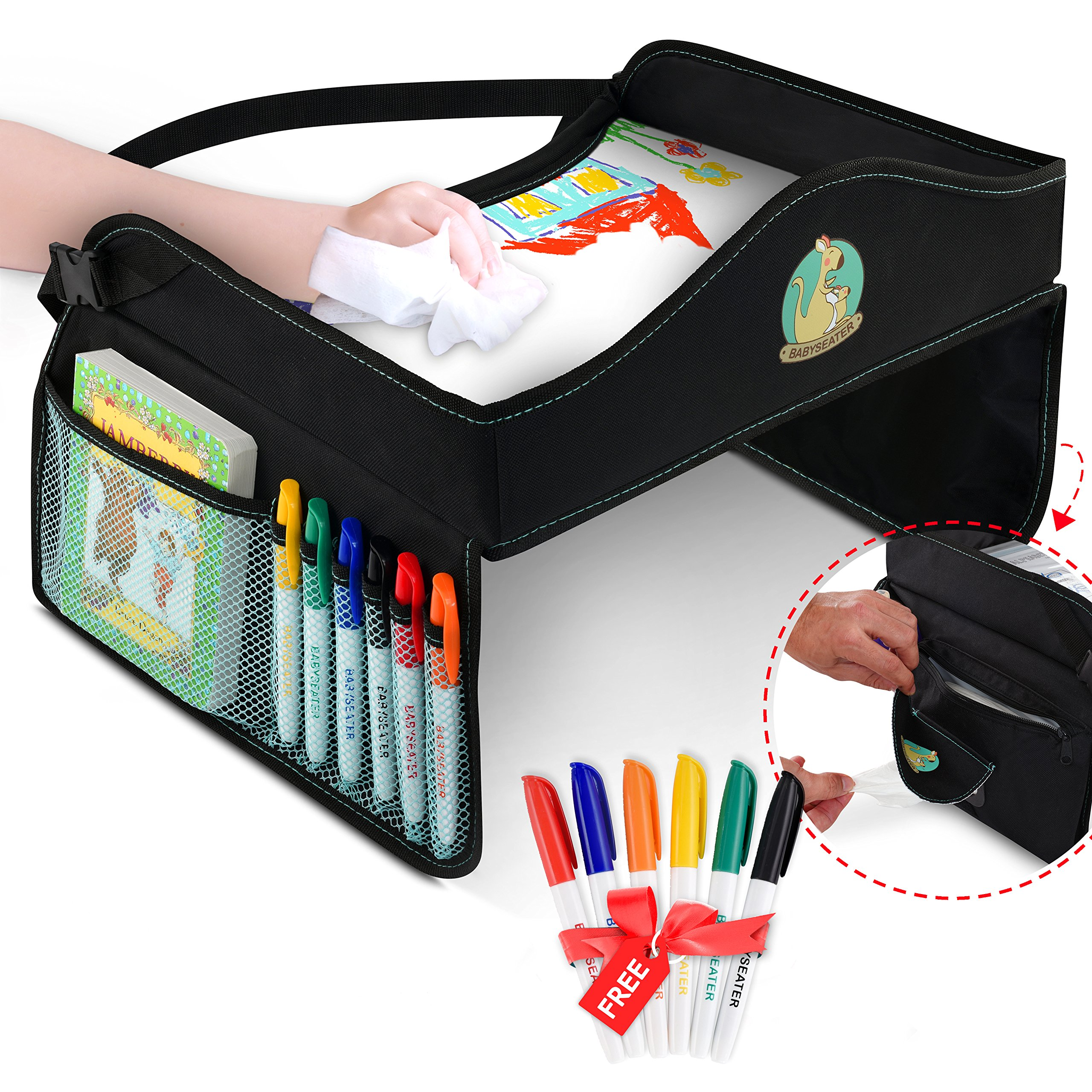 Play Tray Kids Travel Tray with Dry Erase Top for Snacks & Car Activities for Toddlers - Dry Erase Markers Gift - Child Car Seat Tray for Travel by Car and Plane | Road Trip Essential by BabySeater