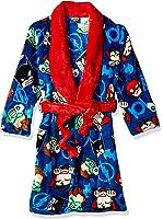 Justice League Big Boys' All Over Print Velvet Fleece Robe