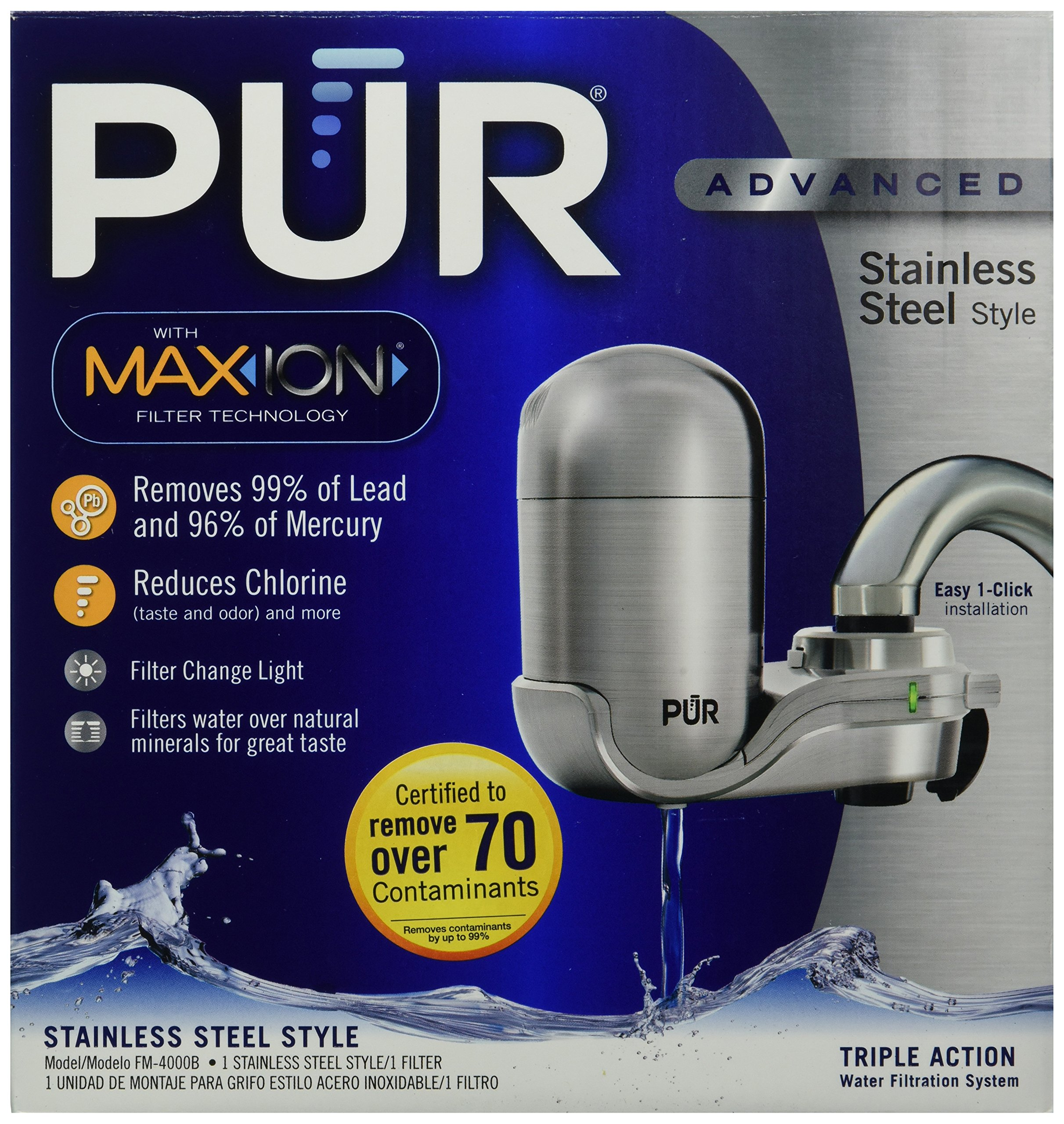PUR NEW Advanced Faucet Water Filter Stainless Steel Style FM-4000B by PUR