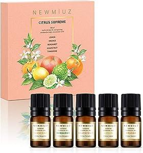 New Miuz Citrus Essential Oils, USA Made Gift Set, undiluted Pure and Natural, Therapeutic Grade for Aromatherapy Oil Diffuser, Orange, Lemon, Tangerine, Grapefruit & Bergamot