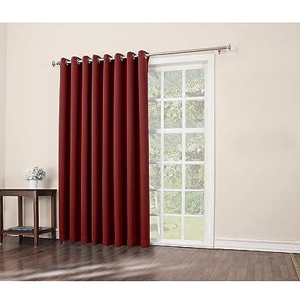 1 pieza 84 cm rojo color sólido cortina de puerta corredera, vino ...