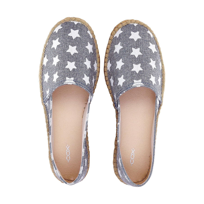 Cox Damen Damen Stoff Espadrille, Slipper in Weiß-Grau mit blau Sohle aus Geflochtenem Bast blau mit Textil 37 - c809a4