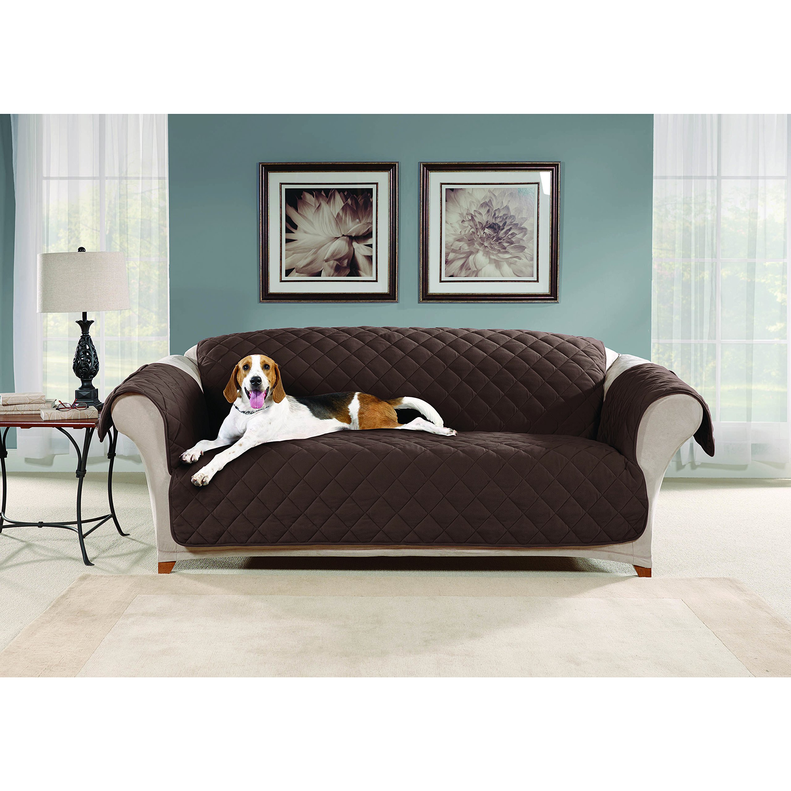 48 Inch Wide Chocolate Solid Color Sofa Slip Cover, Dark Brown Furniture Protector From Pets Children Relaxed Fit T-cushion Quilted Water Repellent Textured Modern Elegant, Polyester