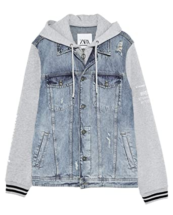 41ee3625 Zara Men Denim Jacket with Contrast Hood 1889/403 at Amazon Men's ...