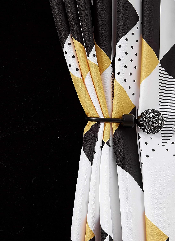 Yellow Shower Curtain Set White Geometric Bathroom Fabric ...