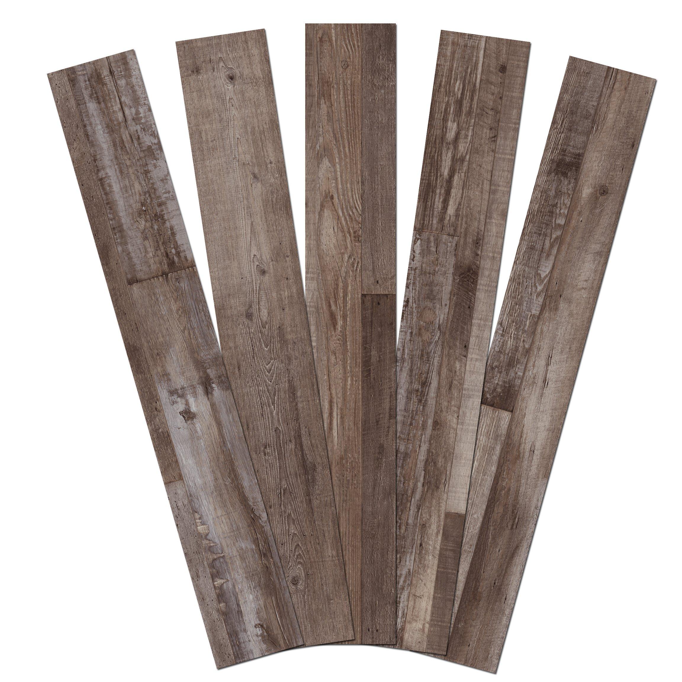 Admira Collection 10 Pack 6.5Mm Stone Core Engineered Vinyl Plank Flooring, 48'' x 7'', Wood Grain Finish/Heirloom Gray, 23 sq. ft